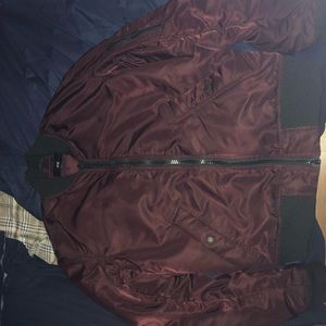 Mens Maroon Bomber Jacket